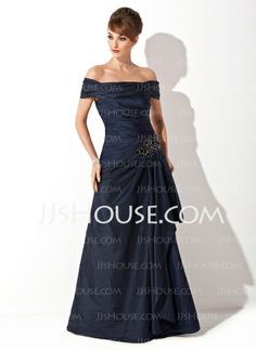 Mother of the Bride Dresses - $126.99 - A-Line/Princess Off-the-Shoulder Sweep Train Taffeta Mother of the Bride Dress With Ruffle Beading (008021110) http://jjshouse.com/A-Line-Princess-Off-The-Shoulder-Sweep-Train-Taffeta-Mother-Of-The-Bride-Dress-With-Ruffle-Beading-008021110-g21110