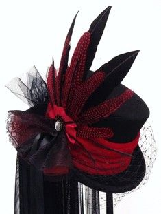 Bridal hats - The Victorian hatter is an online store of alternative, Goth & steampunk fashion apparel costume hats. In Neo Victorian, medieval & steampunk top hats, Tricorns and fascinators, all origional designs Steampunk Top Hat, Steampunk Design, Steampunk Fashion, Victorian Hats, Victorian Gothic, Vampire Wedding, Modern Goth, Romantic Goth, Costume Hats