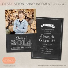 Senior Graduation Announcement Template for Photographers - PSD Flat card - Bold Chalkboard CG018