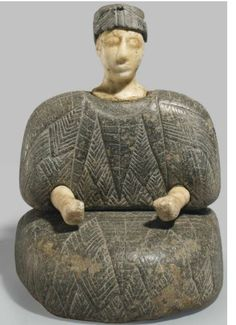 Bactrian chlorite and white calcite figure, Late 3rd-early 2nd millennium B.C. 13.7 cm high. Private collection, from Christie's auction 9 Jun 2011 lot 19