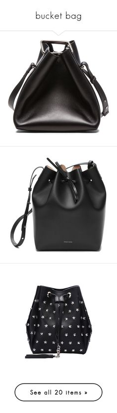"""bucket bag"" by val-valeriya ❤ liked on Polyvore featuring bags, handbags, shoulder bags, hand bags, man leather shoulder bag, leather key ring, leather hand bags, leather bucket bag, purses and bags n hats"