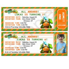 Dinosaur Train Ticket Invitation By BirthdayP On Etsy 1000