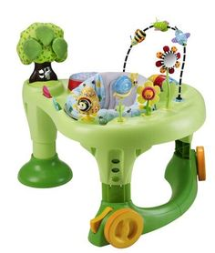 """$99.99 Baby Evenflo In the Garden Walk Around ExerSaucer – Evenflo Walk Around ExerSaucerThe ExerSaucer Walk Around delivers """"secure mobility"""", providing fun and safe entertainment for baby. Two safety brakes allow the Walk Around to be locked in one position, creating a stationary ExerSaucer. A variety of age appropriate toys help babies achieve 10 important developmental milestones while three …"""
