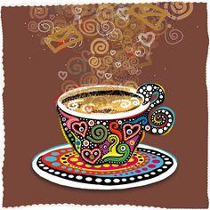 Cup art via Hippie Peace Freaks - coffee Coffee Cup Art, Coffee Club, Coffee Talk, I Love Coffee, My Coffee, Coffee Shop, Mosaic Kits, Retro Cafe, Tea Art
