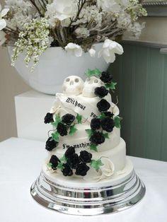 Black roses, white calla's and skulls wedding cake. Due Oct 31