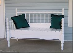 Old headboard and footboard made into a bench - cute Southern charm