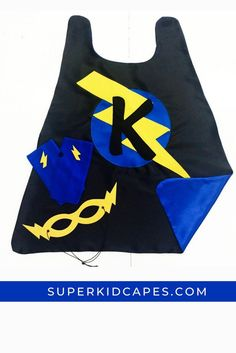 This halloween, trick or treat in style with a personalized superhero cape for your little boy or girl. Our handmade superhero costume comes double sided with an outside color and contrasting inside color. Dress it up with our superhero mask and accessories. Whether you are looking for a halloween costume or need a gift for a birthday, school dress up day, or Christmas, our capes will bring a smile to the face of kids of all ages. Check out all 21 color combinations at superkidcapes.com. Superhero Capes For Kids, Superhero Dress Up, Superhero Party, Orange Gloves, Green Gloves, Cape Designs, Cool Mom Picks, Dress Up Day