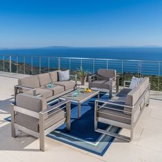 Cape Coral Outdoor Aluminum 5 Piece Sofa Set With Cushions By Christopher Knight Home Outdoor Sofa Sets Backyard Furniture Sofa Set
