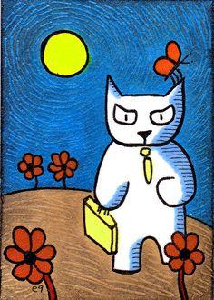 'all work no play' e9Art ACEO Cat Original One-of-a-Kind Cartoon Folk Art OOAK #Miniature