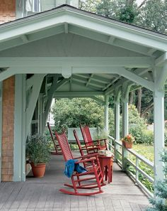 Rocking chairs on wide front porch. Welcome Home! #decor #design #NashvilleRealEstate #NealClaytonRealtors www.nealclayton.com #homesweethome
