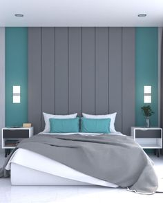 Elegant bedroom accent wall using gray and teal combinations. Visit our website to get more gray and teal bedroom wall ideas. Teal Bedroom Accents, Teal Bedroom Walls, Teal Bedroom Decor, Teal Rooms, Grey Wall Decor, Bedroom Wall Designs, Bedroom Bed Design, Bedroom Wall Colors, Accent Wall Bedroom