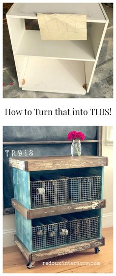 Vintage Decor Diy How to turn an old Bookshelf into a Vintage Industrial Rolling Cart - Wait! You can give that ugly old thing a new life. Turn that Cheap Bookshelf into a Vintage Industrial Rolling Cart! Diy Nursery Furniture, Diy Furniture Decor, Industrial Design Furniture, Trendy Furniture, Vintage Industrial Furniture, Repurposed Furniture, Furniture Makeover, Cool Furniture, Furniture Projects