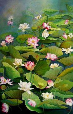 Pichwai Paintings, Indian Art Paintings, Watercolor Paintings, Lotus Flower Art, Lotus Art, Lotus Painting, Fruit Painting, Indian Folk Art, Mural Art
