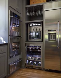 Modern Kitchen Design with Luxury Stainless Steel Appliances.  This would be great.