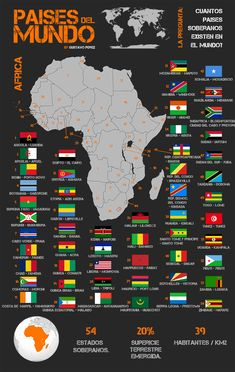 Map of Africa with its countries World Map With Countries, Countries And Flags, Geography Map, World Geography, Africa Flag, Road Trip Map, Asia Map, Country Maps, Black History Facts