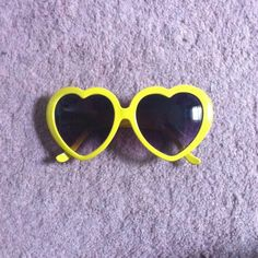 Heart Shaped Sunglasses in Yellow Adorable, quirky accessory. Preowned. Has scratches. #putyourloveglasseson Urban Outfitters Accessories Sunglasses