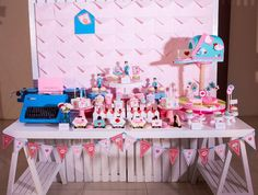 Hip Postal Mail Themed Party Ideas - Dessert spread (Mailbox cake and sweet treats) Party Themes, Party Ideas, Event Ideas, Mailbox, Sweet Treats, Photoshoot, Dessert, Dolls, Cake