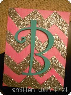 """DIY glittery canvas painting. I love this! Even though its pink... And glittery... I like the """"B""""! Hahaha"""