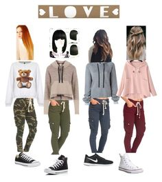 """""""😍 1"""" by asdfghjkl0024 ❤ liked on Polyvore featuring Unravel, Moschino, Chicnova Fashion, Free People, Converse and NIKE"""