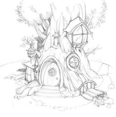 fairy tree house coloring pages Fairy Drawings, Pencil Art Drawings, Art Drawings Sketches, Fairytale Drawings, Fantasy Drawings, House Colouring Pages, Adult Coloring Pages, Coloring Books, Fairy Coloring Pages