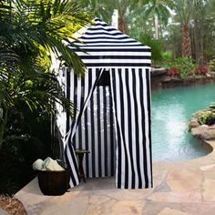 Portable Cabana Stripe Changing Room Privacy Tent Pool Camping Outdoor EZ Pop Up | eBay- could make it with pvc pipes
