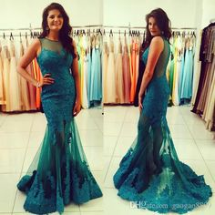 2017 Sexy Mermaid Green Evening Dresses See Through Back Tulle Sweep Train Lace Women Prom Party Gowns Vestido De Festa Sale Prom Dresses Sell My Prom Dress From Gaogao8899, $122.62| Dhgate.Com
