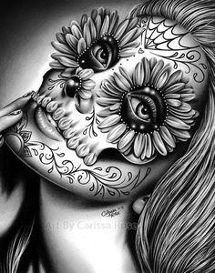 Line Tattoos, Skull Tattoos, Tattoos For Guys, Sleeve Tattoos, Sugar Skull Girl Tattoo, Buddha Tattoos, Sugar Tattoo, Chicano Art Tattoos, Tatoos