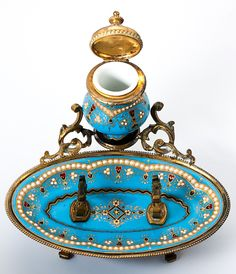 Celeste Blue! Antique TAHAN, Paris, French Kiln-fired Enamel Inkwell, Ink Pen Stand, Dore Bronze Frame