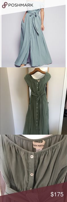 Mara Hoffman Off the Shoulder Dress Gauzy off-the-shoulder maxi dress featuring button closures down the front. Smocked waistband for an easy fit and adjustable belt with front slip pockets. Short sleeves with elastic cuffs and front slit. Lined. Mara Hoffman Dresses Maxi