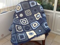 Blue Jeans One sampler afghan (see http://www.ravelry.com/projects/Kirsty1234/200-crochet-blocks)