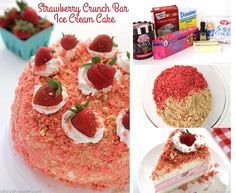 Strawberry Crunch Bar Ice Cream Cake - all the flavors of the famous ice cream bar right in a cake Strawberry Crunch Cake, Strawberry Shortcake Ice Cream, Strawberry Desserts, Frozen Desserts, Sweet Desserts, Frozen Treats, Delicious Desserts, Yummy Food, Cake Recipes