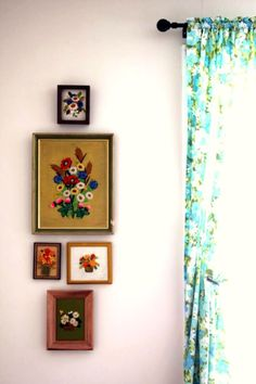 Framed floral embroidery wall vignette and retro floral curtain.
