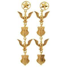 """Military Earrings, 4.25"""" Long, 1980'S, Signed Jj In Gold . $8.99"""
