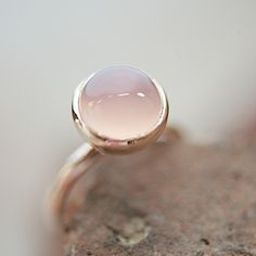Rosé+Gold+Ring+With+Rose+Chalcedony+by+lebenslustiger+on+Etsy,+$107.00