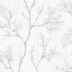 Graham & Brown Silver & White Icy Trees Wallpaper | Departments | DIY at B&Q