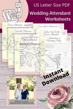 Wondering how to keep all your notes organized for your wedding attendants? Use these helpful worksheets to help you plan your every step. Perfect to print for use in your personal wedding planning folder. Wedding Planning On A Budget, Wedding Planning Timeline, Wedding Decorations On A Budget, Budget Wedding, Wedding Tips, Party Planning, Diy Wedding Notebook, Wedding Planner Binder, Wedding Planners