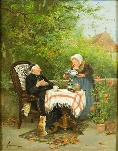 The curate's tea party by Charles François Prosper Guérin (Fr 1875-1939)