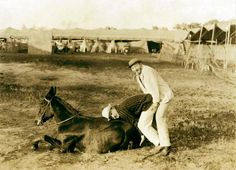 """Dan Dix """"The Cowboy Clown""""and Joe Lewis seen here in the arena of the 101 Ranch Wild West Show, Early 1900′s."""