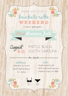 Bachelorette  Weekend Invite & Itinerary 5 x 7 by ChloeAndMilo, $12.00