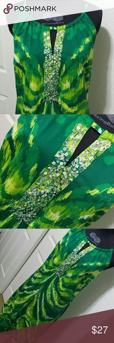 "Inc Bright Green Dress and Sequins Adorable green print dress, light and cool. Sequins are silver with shapes of circles and squares with clear beads. Length 38"", pit 18"". INC International Concepts Dresses"