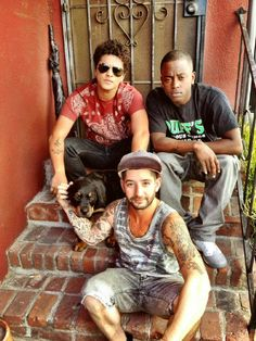 Bruno Mars, Ari Levine, Brody and Geronimo at the studio in LA.