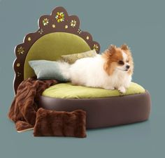 Pet Bed  w Faux Fur Throw by Judio9 on Etsy