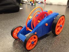 By @sketch2print   Adding @NinjaFlex3D to the tires has helped increase speed in @blender3d made wind up car printed on @makerbot