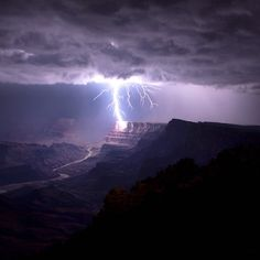 WOW! A #lightning strike illuminates #GrandCanyon #NationalPark in #Arizona. ⚡️⚡️This photo was taken a few years ago from @grandcanyonnps's South Rim of the canyon by the Watchtower. Photo by Travis Roe (www.sharetheexperience.org).
