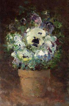 Nicolae Grigorescu (Romanian, Panseluțe (Pansies), Oil on canvas. Sweet Magic, Sweet Violets, Wonderful Flowers, Classic Paintings, High Art, Blue Art, Sculpture, Botanical Prints, Pansies