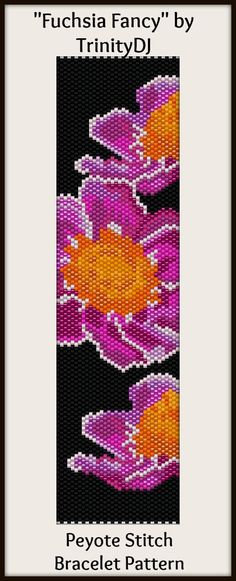 BPFLO081 Fuchsia Fancy Even Count Peyote Stitch In by TrinityDJ