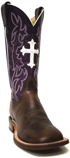 Tony Lama Women's Purple Top with white Cross Cowboy Boot -- These cowgirl boots look great with a dark purple or lavender wedding color scheme! | SouthTexasTack.com