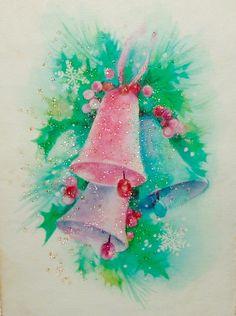 Glitter Bells. Vintage Christmas Card. Retro Christmas Card.
