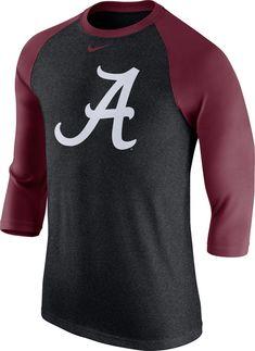 e77547f2 Nike Men's Alabama Crimson Tide Grey/Crimson Baseball Tri-Blend Logo Raglan  Shirt