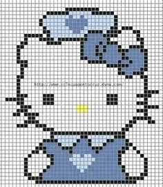 Hello Kitty Nurse - Free Hama Perler Bead Pattern or Cross Stitch Chart